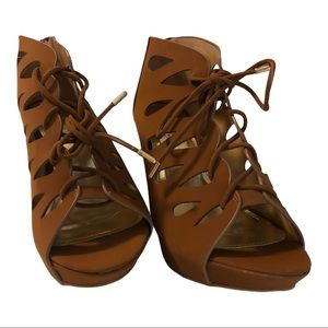 Hot Tomato Came Lace Up Open Toe Wedges Size 10W